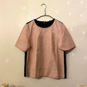 Tibi Pink Lamb Leather Short Sleeve Top / Shirt